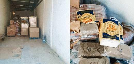 بالصور.. حجز أكثر من طن ونصف من مخدر الشيرا داخل مستودع للمواد الغذائية