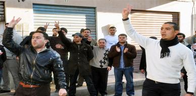 حاملي الشهادات المعطلين بالناظور في وقفة احتجاجية مع ساكنة بني بوعياش