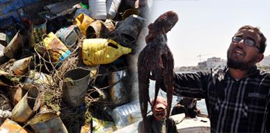 """مهنيو الصيد البحري بمنطقة """" الجزيرة """" بأركمان يحتجون داخل بحيرة مارتشيكا على خروقات القطاع"""