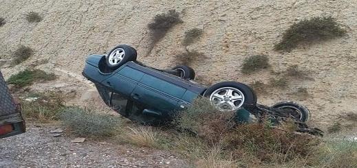 صورة لحادثة سير وقعت على مستوى جماعة تزاغين أمس الثلاثاء
