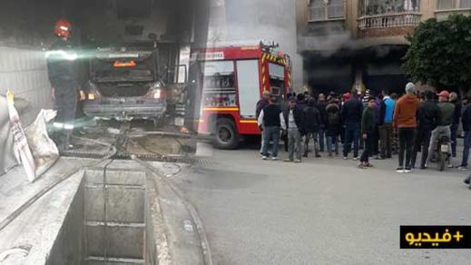 نشوب حريق مهول في سيارة داخل مغسل للسيارات يستنفر رجال المطافئ بسلوان