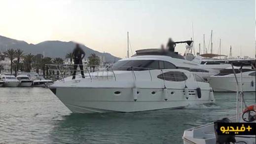 بالفيديو.. توقيف قارب يحمل كمية مهمة من الحشيش في عرض البحر