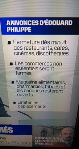 شاهدوا.. فرنسا تقرر إغلاق المقاهي والمتاجر والمطاعم ودور السينما بكامل البلاد