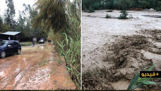 شاهدوا.. أمطار غزيرة وفيضانات في معظم الأودية بتمسمان