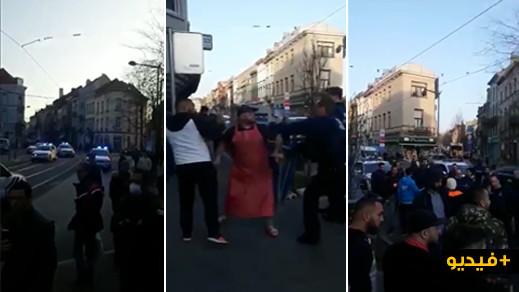 شاهدوا.. مشدات بين الشرطة البلجيكية والمغاربة بسبب رفضهم الإنصياع لأوامر الحجر الصحي