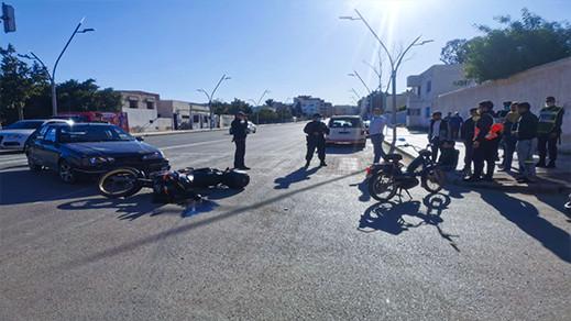 نقل سائق دراجة نارية إلى المستشفى إثر حادث سير مريع على طريق أزغنغان والناظور