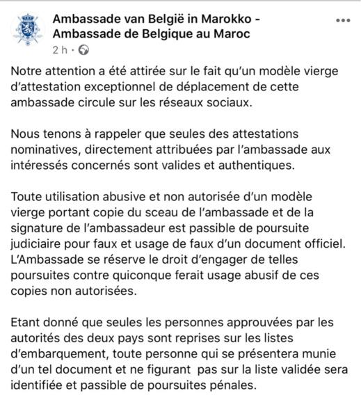 تزوير توقيع السفارة البلجيكية بالمغرب في وثيقة تسمح للسفر مع العالقين