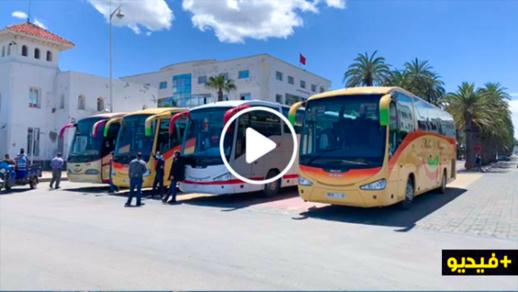 شاهدوا المباشر.. سلطات الناظور تجهز الحافلات لنقل المغاربة العالقين بمليلية