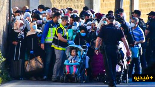 شاهدوا.. فتح المعبر الحدودي لسبتة أمام 300 مغربي من أصل 700 كانوا عالقين بالمدين