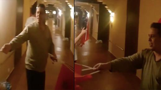 شاهدوا.. مجعيط يوزع العلم الوطني بفندق بالسعيدية على العائدين من مليلية