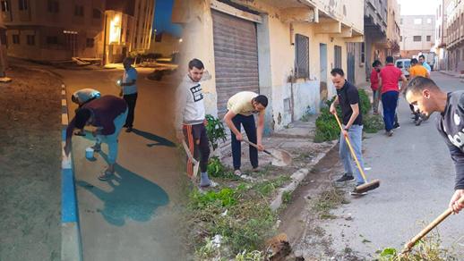 شباب وسط العروي يبادرون إلى تنقية حيّهم السكني وطلاء أرصفته في حملة تنظيف واسعة