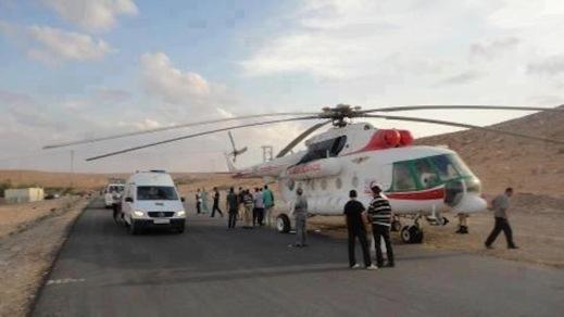 طائرة هيليكوبتر لاسعاف ضحايا حوادث السير ورقم الخدمة 123