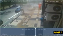مقطع فيديو يسجل بشكل مباشر حادث السير بطريق أزغنغان