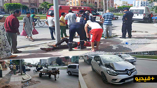 سيارة تصدم عربة مجرورة وسط الناظور وترسل صاحبها الى المستشفى
