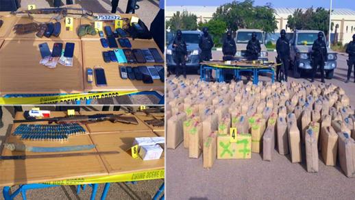 """بالصور.. توقيف عصابة إجرامية بحوزتها 5 أطنان من المخدرات وسلاح """"كلاشينكوف"""""""
