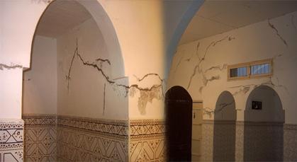 مسجد اولاد الطالب علي اركمان تعاني من تشققات وتصدعات قد تؤدي الى انهيارها