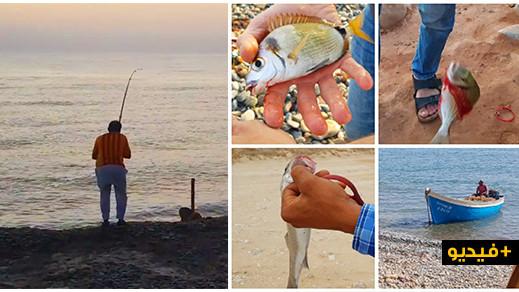 مشاهد مغرية لهواة الصيد بالقصبة في منطقة الجزيرة بقرية أركمان