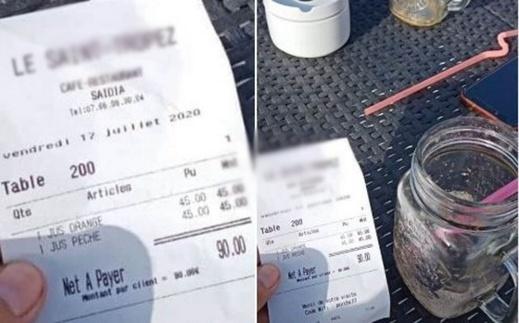 فاتورة خيالية.. مقهى في السعيدية يحتسب 45 درهما لكأس عصير