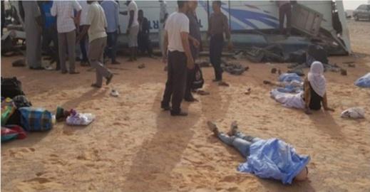 مصرع 12 شخصا في حادث انقلاب حافلة لنقل المسافرين