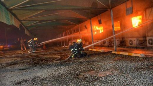 """شاهد.. حريق مهول في محطة """"قطار الحرمين"""" بالسعودية"""