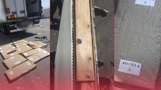 جمارك ميناء بني أنصار تحبط عملية تهريب 200 كلغ من المخدرات على متن شاحنة للنقل الدولي