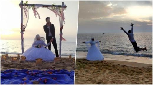 """صور جديدة للزفاف الإستثنائي لـ""""كوبل"""" وجدي بشاطئ """"تشارنا"""" تغزو مواقع التواصل الإجتماعي"""
