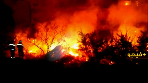 إندلاع حريق مهول في حديقة منزل بأزغنغان يستنفر السلطات المحلية والوقاية المدنية