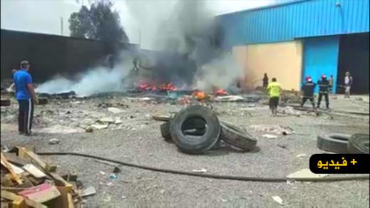 شاهدوا.. اندلاع حريق مهول داخل مصنع بالحي الصناعي يغطي سماء سلوان بالدخان الأسود
