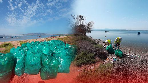 مارتشيكا تقود حملة تنظيف شاطئ بوقانا وتدعوا المواطنين إلى الحفاظ على جمالية الشاطئ