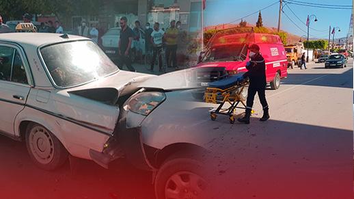 إصابة شخص في حادث اصطدام بين سيارتين وسط مدينة ميضار