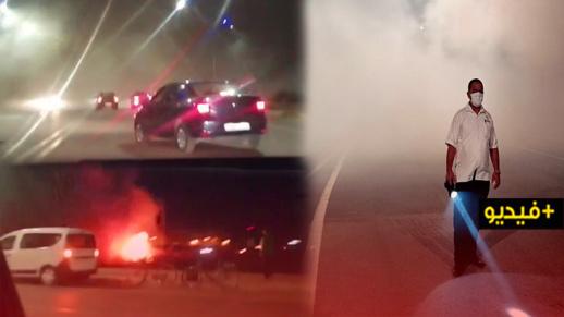 شاهدوا..دخان كثيف ناتج عن حريق في حي المطار يعرقل حركة السير بالناظور