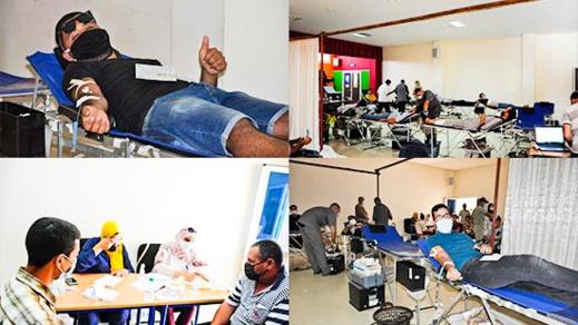 العروي.. مشاركة مكثفة للمواطنين في حملة التبرع بالدم