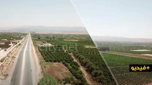 """شاهدوا.. تصوير جوي مدهش يبرز جمال وسحر سهل """"صبرة"""" بإقليم الناظور"""