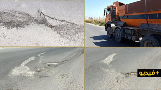 طريق لم يمر على إنجازها أكثر من سنة بحي المطار أصبحت غير صالحة للاستعمال بسبب الشاحنات