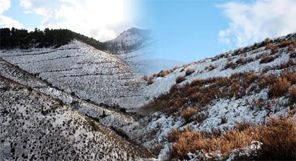 تساقطات ثلجية بقمم جبال إفرني تحول ليالي تمسمان الى زمهارير قارس