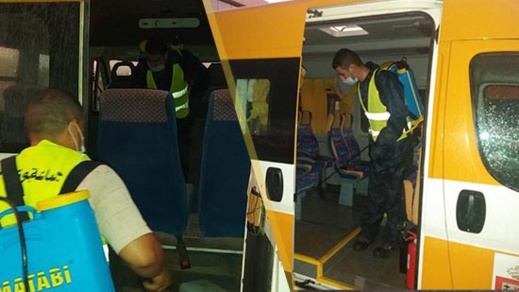 """جماعة بوعرك تقوم بتعقيم يومي لحافلات النقل المدرسي للحد من انتشار """"كورونا"""""""