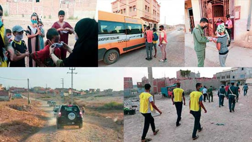 سلطات جماعة بوعرك وفعاليات المجتمع المدني ينظمان حملة تحسيسية ويوزعان مئات الكمامات الطبية