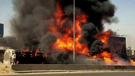 انقلاب شاحنة قرب ميناء طنجة واحتراقها يودي بحياة السائق في لمح البصر