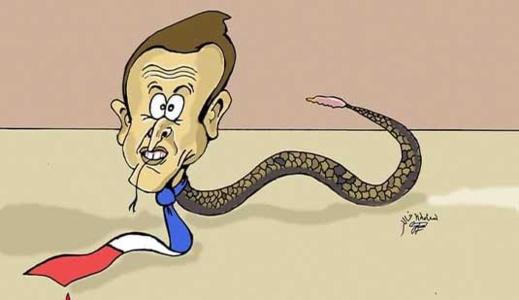 """""""طرد"""" رسام كاريكاتير عربي من منظمة فرنسية بعد سخريته من الرئيس ماكرون"""