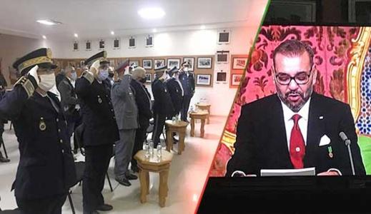 باشا مدینة بني انصار ورئيس الجماعة یترأسان مراسیم الاستماع للخطاب الملكي