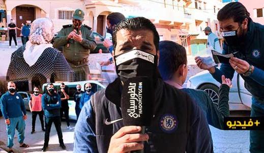 جمعية حق اليتيم والضعيف توزع الكمامات والمعقمات على تجار الأسواق ببني أنصار