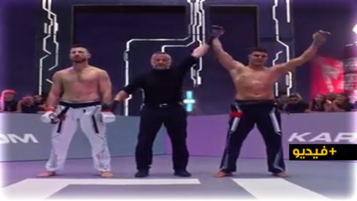 """البطل """"أشرف أوشن"""" يفوز على خصمه البيلاروسي في بطولة عالمية للكراتيه"""
