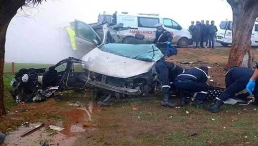 بالفيديو.. ارتطام سيارة بشجرة وانشطارها إلى نصفين ووفاة جميع ركابها بينهم فتاتين