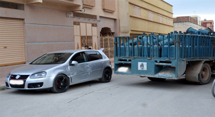قطع فرامل شاحنة محملة بقنينات غاز البوطان تتسبب في حادثة سير