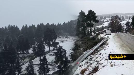 فيديو.. مشاهد بانورامية  لجبال الحسيمة بعدما كستها التساقطات الثلجية بالبياض