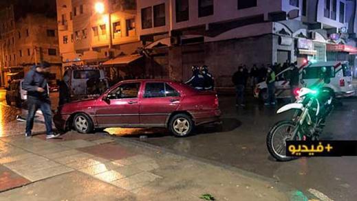 شاهدوا.. مطاردة سيارة محملة بالخمور تنتهي بحادثة سير واعتقال السائق ومرافقه بالناظور