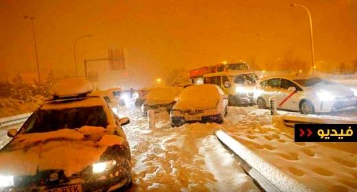 شاهدوا.. مصرع 3 أشخاص جراء العاصفة الثلجية بإسبانيا