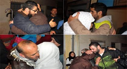 معتقلي 02 مارس يستقبلون استقبال الأبطال من طرف ساكنة زايو وسط زغاريد الأهالي