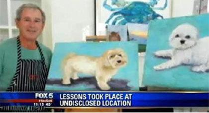 بعدما كان رئيسا لأمريكا بوش يصبح فنانا عظيما متقنا لرسم الكلاب
