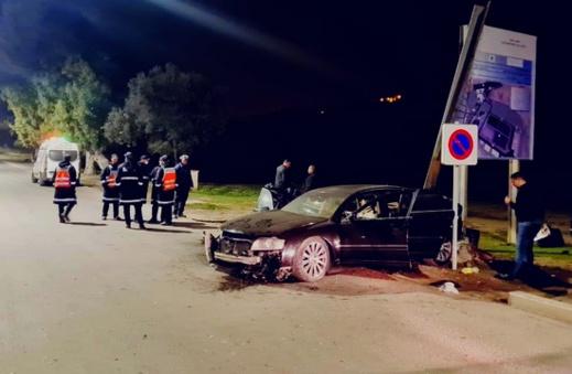 كانوا في حالة سكر طافح.. إصابة 4 أشخاص في حادثة سير مروعة بمدخل مدينة بني انصار